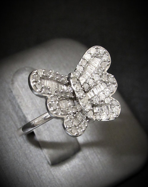 Diamond Butterfly Sterling Silver Ring