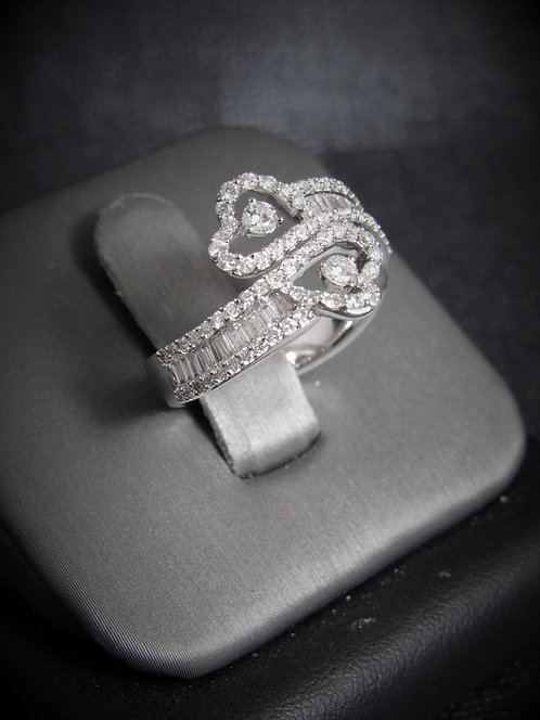 18KT White Gold Diamond By-Pass Ring