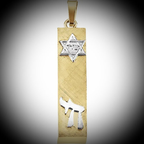 14KT Yellow And White Gold Mezuzah Pendant