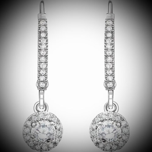 14KT White Gold Diamond Halo-Style Dangling Earrings