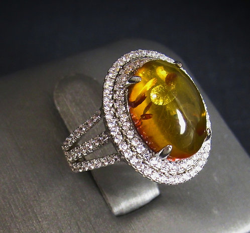Oval Amber With White Topaz 14KT Gold Plated Sterling Silver Ring
