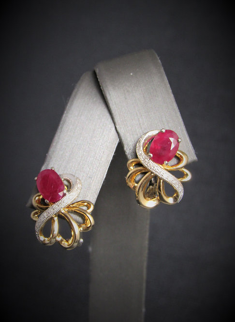 14KT Yellow And White Gold Diamond And Ruby Earrings