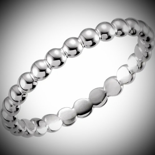 14KT White Gold Beaded Stackable Band Ring