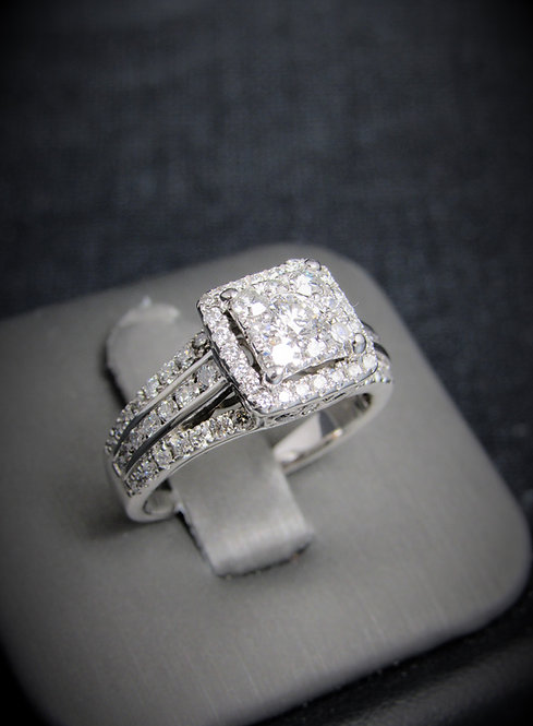 14KT White Gold Diamond Square Cluster Halo-Style Engagement Ring
