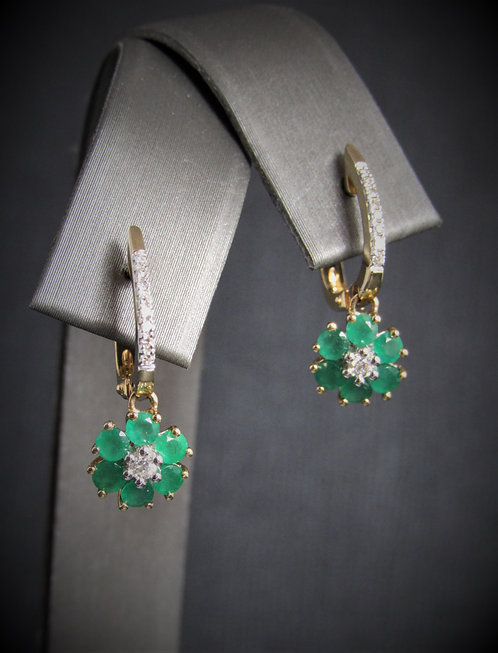 14KT Yellow Gold Diamond And Emerald Cluster Dangling Earrings