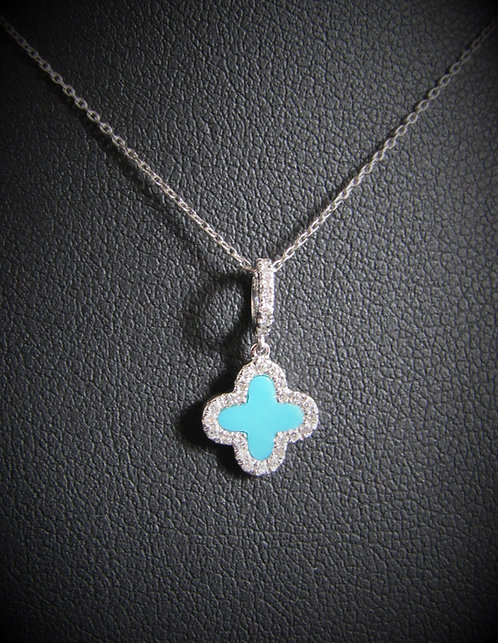 14KT White Gold Diamond And Turquoise Clover Pendant