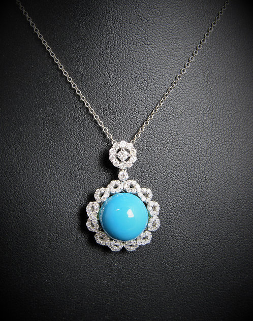 18KT White Gold Diamond And Turquoise Pendant