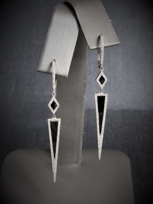 14KT White Gold Diamond And Black Onyx Geometric Earrings