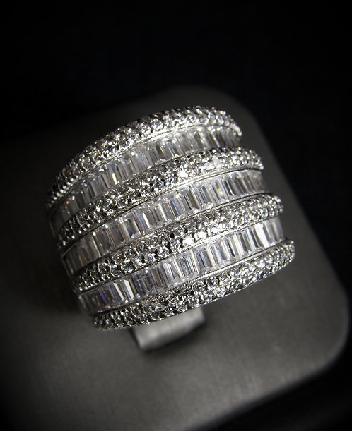 Cubic Zirconia Baguette 18KT Gold Plated Sterling Silver Ring