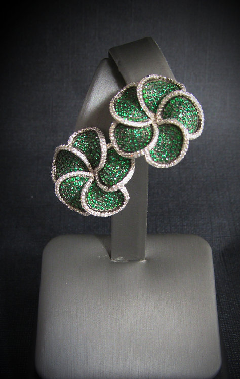 Spiral Flowers Emerald & White Topaz 14KT Gold Plated Sterling Silver Earrings