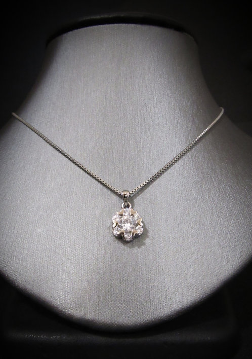 Cubic Zirconia Flower Sterling Silver Necklace