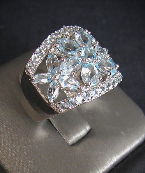 Aquamarine 18KT Gold Plated Sterling Silver Ring