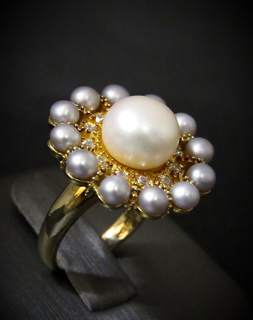 White & Grey Pearls with Topaz 18KT Yellow Gold Plated Sterling Silver Ring