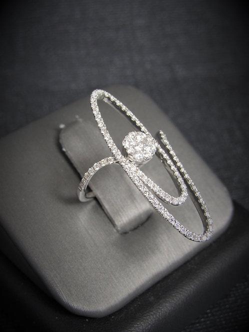 18KT White Gold Diamond Long Style Ring