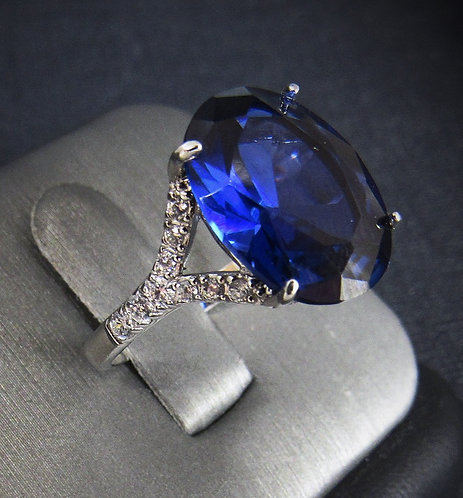 Oval Blue Sapphire & White Topaz 18KT Gold Plated Sterling Silver Ring