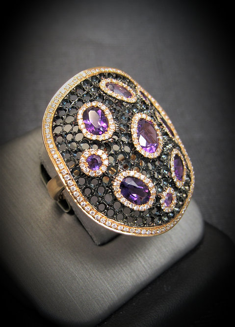 18KT Rose And Black Gold Diamond And Amethyst Net Ring
