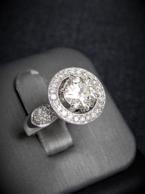 18KT White Gold Round Brilliant Cut Diamond Halo Style Engagement Ring