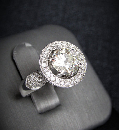 18KT White Gold Round Brilliant Cut Diamond Halo Style Engagement Ring