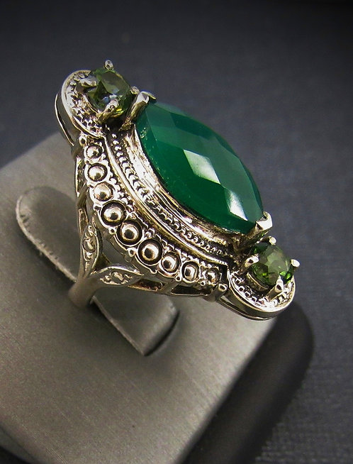 Green Agate & Tourmaline Sterling Silver Ring