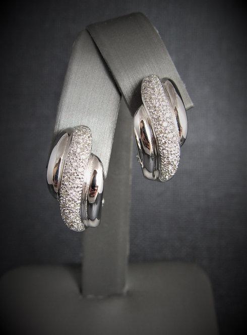 14KT White Gold Diamond Pave Set Earrings