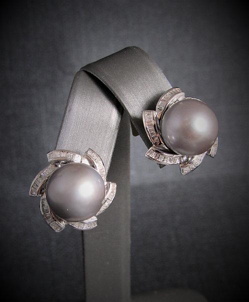 14KT White Gold Diamond And Tahitian Pearl Earrings