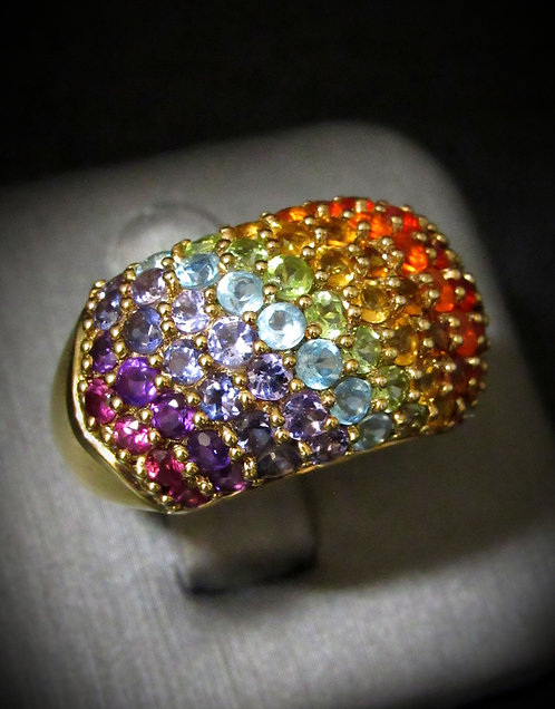Pavé Multigem Rainbow Stones 18KT Yellow Gold Plated Sterling Silver Ring