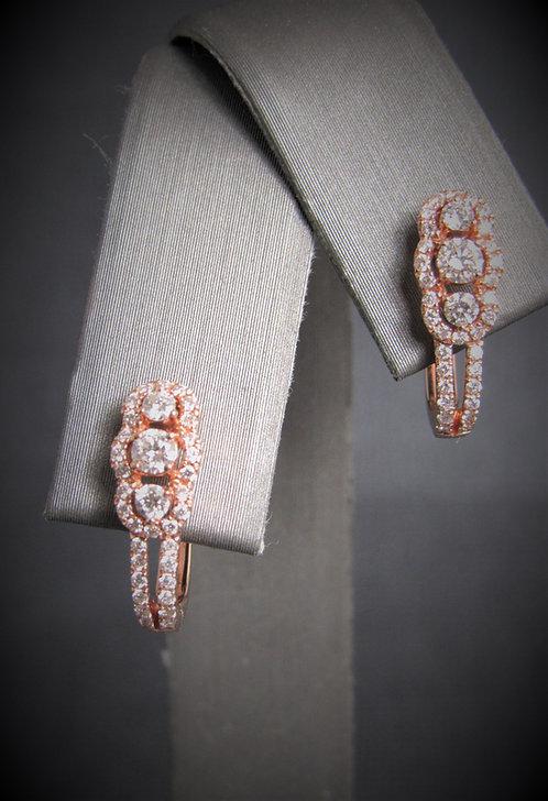14KT Rose Gold Diamond Three-Stone Earrings