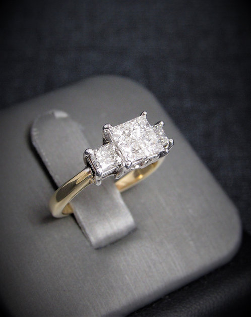 14KT Yellow And White Gold Princess Cut Diamonds Engagement Ring