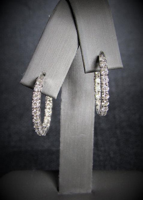 14KT White Gold Diamond Inside-Outside Hoop Earrings