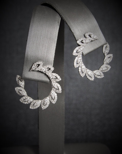 14KT White Gold Diamond Wrap Around Earrings