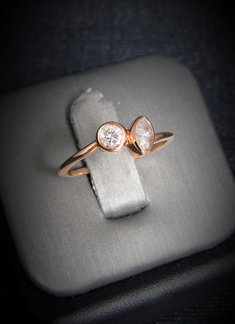 14KT Rose Gold Two-Stone Round Cut And Marquise Cut Diamond Engagement Ring