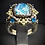 Thumbnail: Lab Created Opal & Blue Topaz 14KT Yellow Gold Plated Sterling Silver Ring