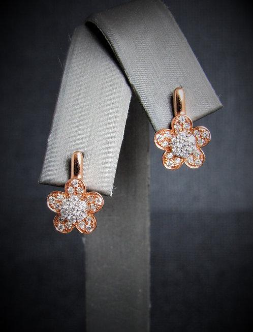 14KT Rose Gold And White Gold Diamond Flower Earrings