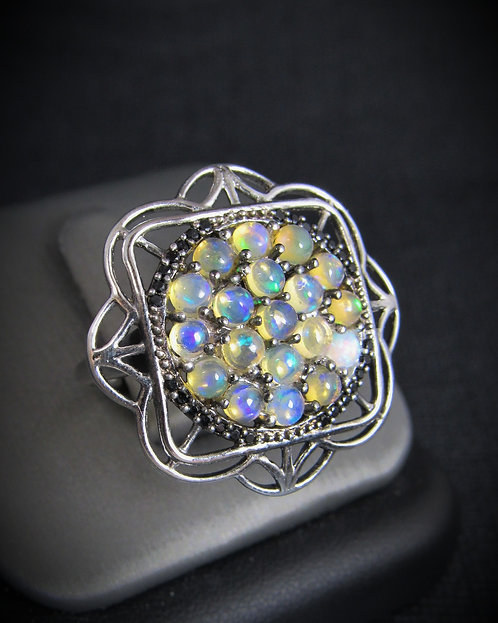 Opal, Black Spinel, & White Topaz 14KT Gold Plated Sterling Silver Ring