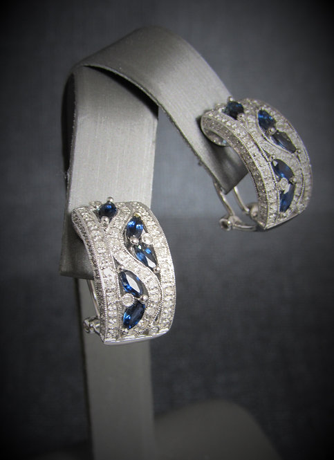 14KT White Gold Diamond And Sapphire Earrings