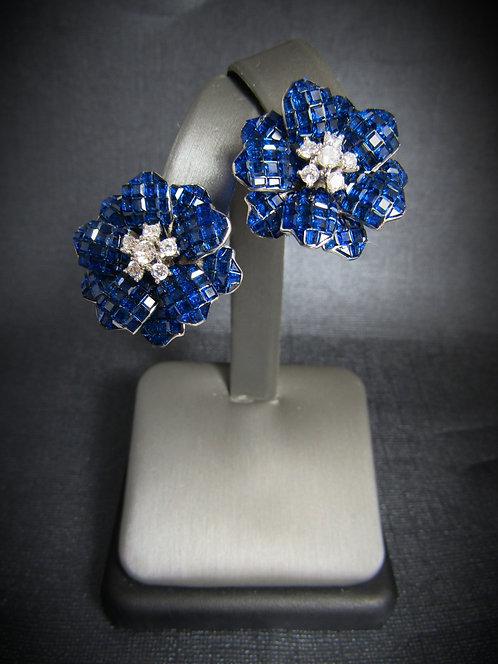 Star Flowers Blue Sapphire & White Topaz 18 KT Gold Plated Earrings