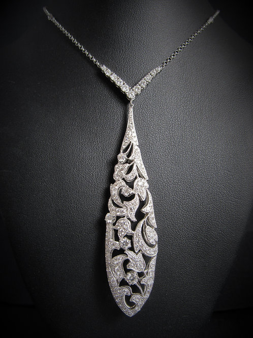 18KT White Gold Diamond Y-Style Drop Fancy Necklace