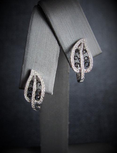 14KT White Gold And Black Rhodium Gold Diamond Earrings