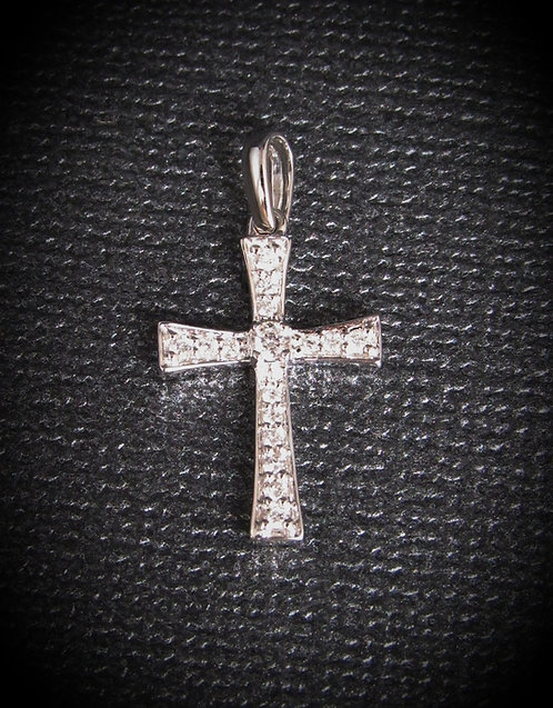 14KT White Gold Small Diamond Cross Pendant