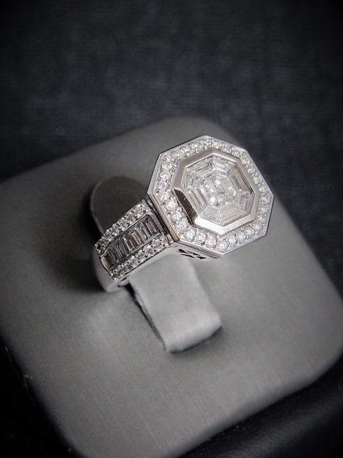 14KT White Gold Diamond Octagon Cluster Ring