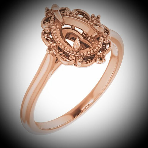 14KT Rose Gold  Pear Engagement Ring Mounting
