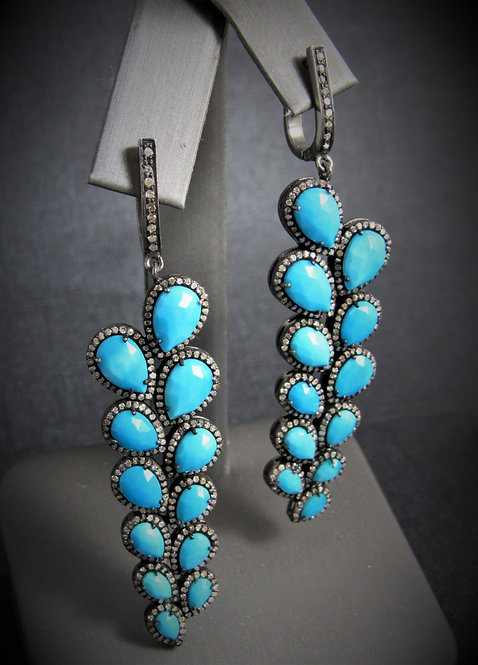 '925 Sterling Silver Diamond And Turquoise Earrings