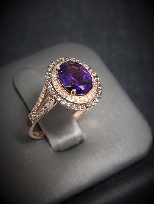 14KT Rose Gold Champagne Diamonds And Amethyst Ring