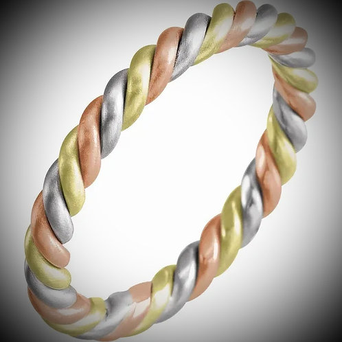 14KT Tri-Color Rope Band