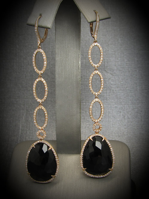 14KT Rose Gold Diamond And Black Onyx Long Earrings