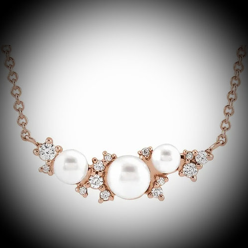 14K Rose Gold Diamond And Pearl Necklace
