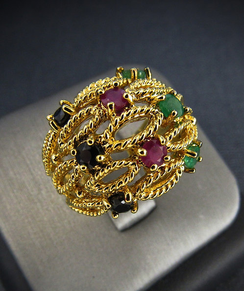 Emerald, Ruby, & Sapphire 14 KT Yellow Gold Plated Sterling Silver Ring