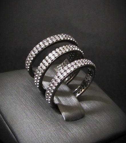 White Topaz Pavé Trio Rhodium Plated Sterling Silver Ring