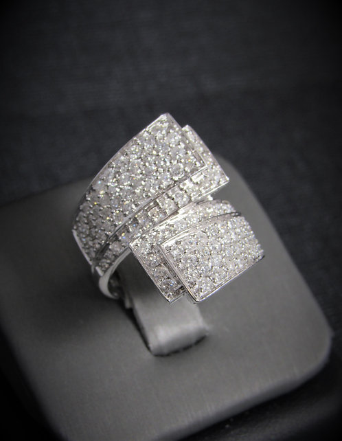 14KT White Gold Diamond Pave Style By-Pass Ring