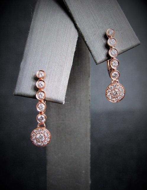 14KT Rose Gold Diamond Dangling Circles Earrings